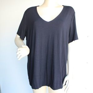 Black Lined V Neck Tee Shirt Top Plus Size 2X